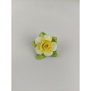 Vintage Coalport Fine Bone China Yellow Rose Pin